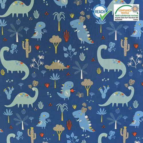 Coton bleu motif dinosaure grrroar Oeko-tex