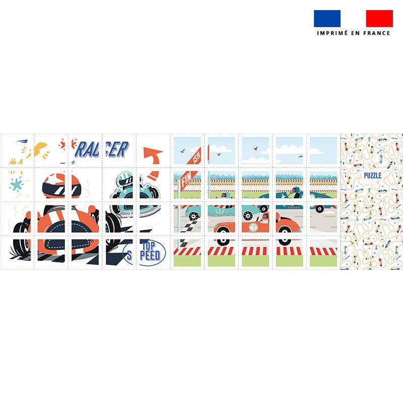 Patron imprimé pour jeu de puzzle 2 en 1 motif course de voitures
