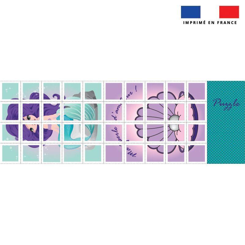 Patron imprimé pour jeu de puzzle 2 en 1 motif sirène
