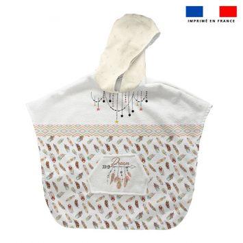 Patron imprimé sur tissu éponge pour poncho de bain motif boho