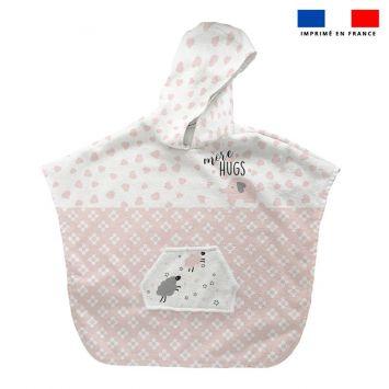 Patron imprimé sur tissu éponge pour poncho de bain motif baby rose