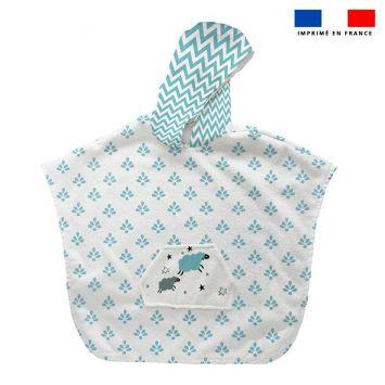 Patron imprimé sur tissu éponge pour poncho de bain motif baby bleu