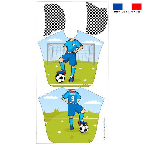 Patron imprimé sur tissu éponge pour poncho de bain motif joueur de foot