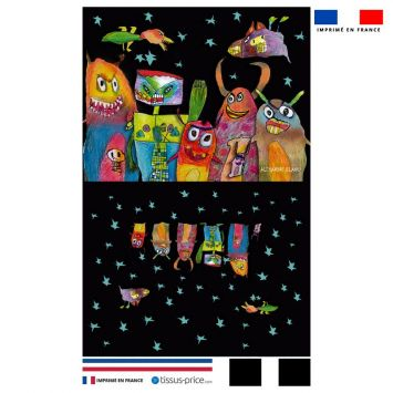 Kit pochette motif petits monstres noirs - Création Lita Blanc
