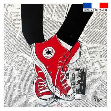 Coupon 45x45 cm motif baskets rouges - Création Lilou L