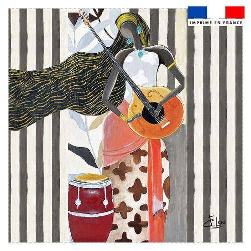 Coupon 45x45 cm motif mandoline - Création Lilou L