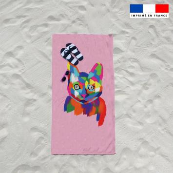 Coupon éponge pour serviette de plage simple motif chat multicolore - Création Lily Tissot