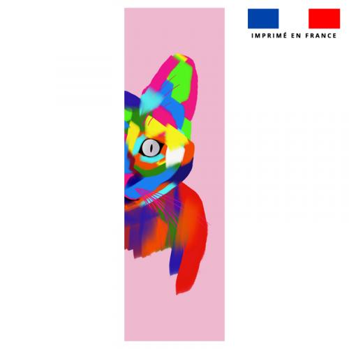 Coupon 45x150 cm tissu imperméable motif chat multicolore pour transat - Création Lily Tissot