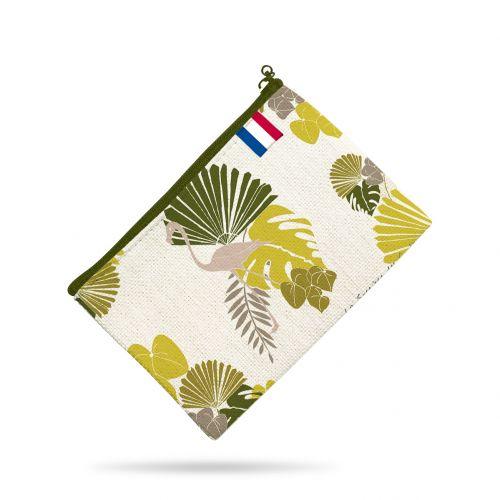 Kit pochette motif palme exotique verte - Création Marie-Eva