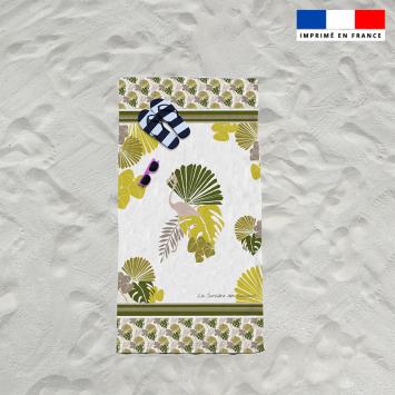 Coupon éponge pour serviette de plage simple motif palme exotique verte - Création Marie-Eva