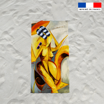 Coupon éponge pour serviette de plage simple motif duo et fantasme - Création Monique.D