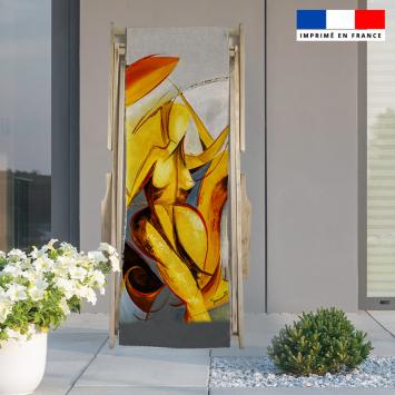 Coupon 45x150 cm tissu imperméable motif duo et fantasme pour transat - Création Monique.D