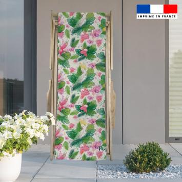 Coupon 45x150 cm tissu imperméable motif pastèque et feuille exotique pour transat - Création Pilar Berrio