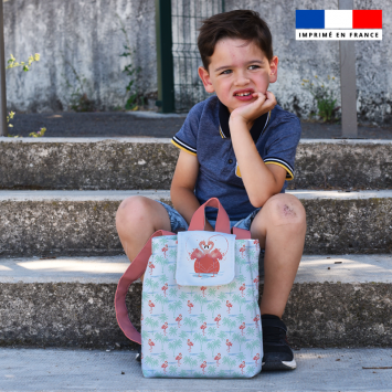 Kit sac à dos enfant motif flamant rose