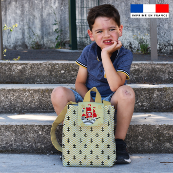 Kit sac à dos enfant motif pirate beige