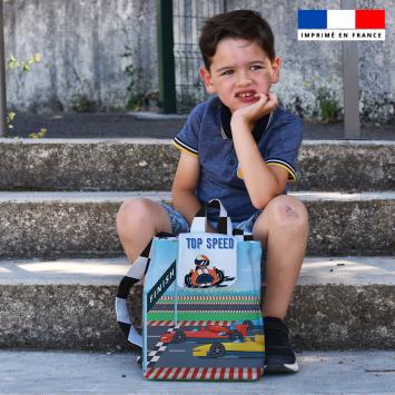 Kit sac à dos enfant motif course de voiture