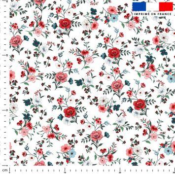 Petites fleurs champêtres rouges - Fond blanc