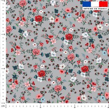 Petites fleurs champêtres rouges - Fond gris
