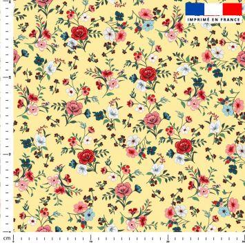 Petites fleurs champêtres rouges - Fond jaune pastel
