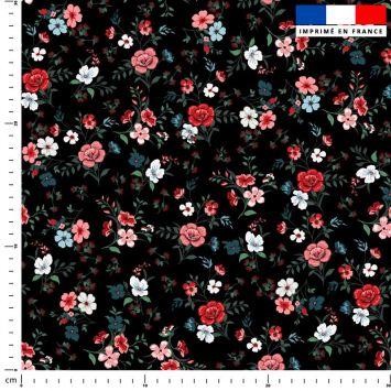 Petites fleurs champêtres rouges - Fond noir