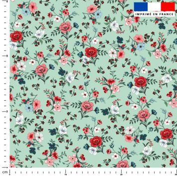Petites fleurs champêtres rouges - Fond vert d'eau
