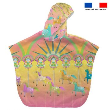 Patron imprimé sur tissu éponge pour poncho de bain motif cheval - Création Lita Blanc