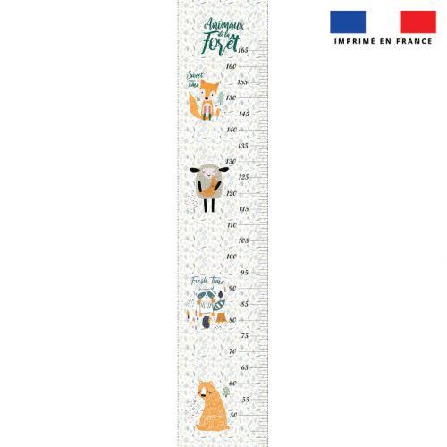 Coupon imprimé sur toile canvas pour toise motif animaux de la forêt