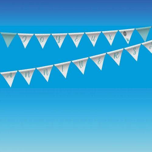 Coupon pour fanions motif joyeux anniversaire bleu