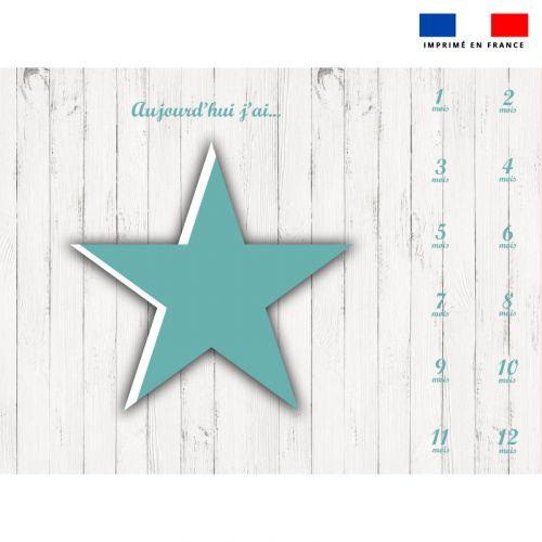 Coupon 100x75 cm pour couverture mensuelle bébé motif étoile verte