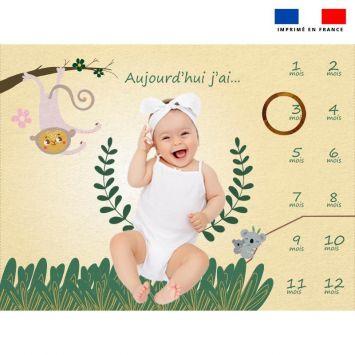Coupon 100x75 cm pour couverture mensuelle bébé motif animaux de la jungle