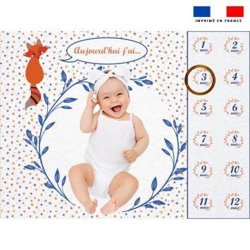 Coupon 100x75 cm pour couverture mensuelle bébé motif renard