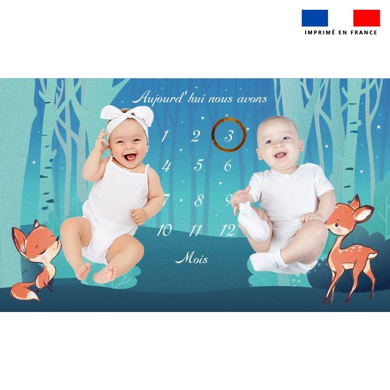 Coupon 125x75 cm pour couverture mensuelle jumeaux motif animaux des bois