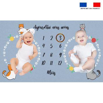 Coupon 125x75 cm pour couverture mensuelle jumeaux motif chaton