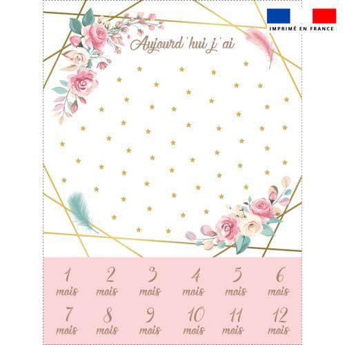 Coupon 100x75 cm pour couverture mensuelle bébé motif fleuri