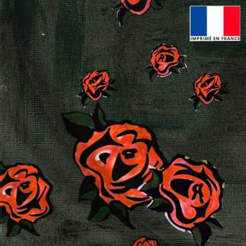 Satin anthracite motif peinture et rose - Anne-Sophie Dozoul