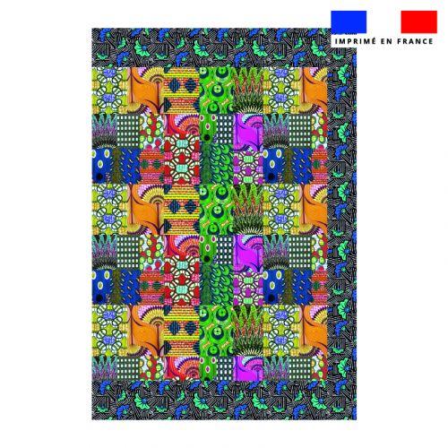 Coupon 135x200 cm de mousseline pour poncho de plage motif wax