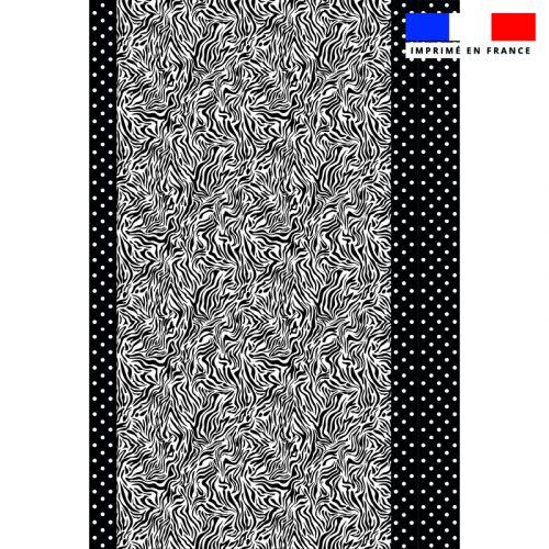 Coupon 135x200 cm de mousseline pour poncho de plage motif zèbre