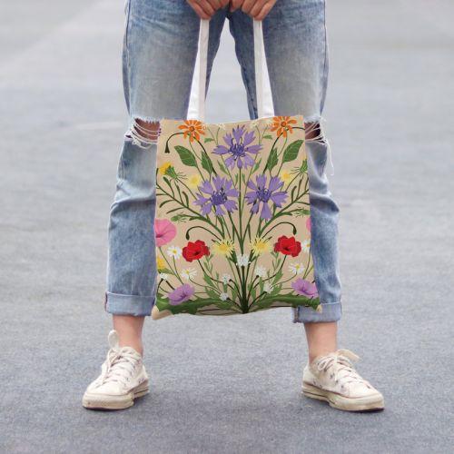 Coupon 45x45 cm beige motif bouquet champêtre - Création Julia Amorós