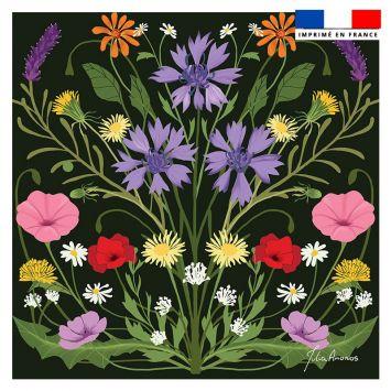 Coupon 45x45 cm noir motif bouquet champêtre - Création Julia Amorós