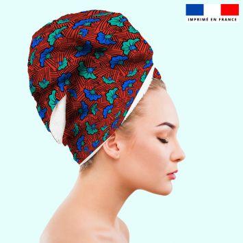 Coupon éponge pour serviette turban cheveux rouge motif fleur de mariage bleue et verte wax
