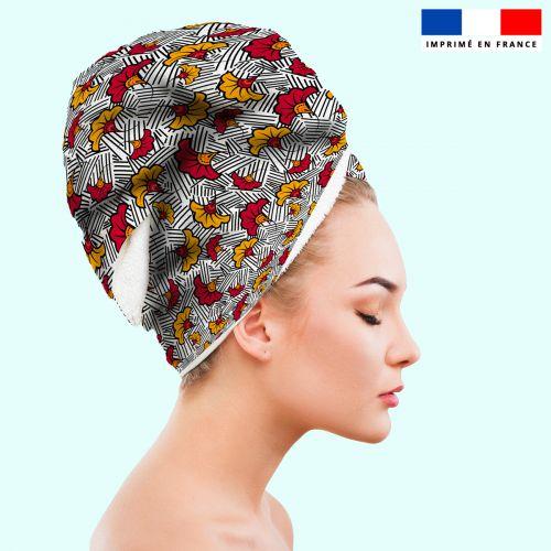 Coupon éponge pour serviette turban cheveux blanche motif fleur de mariage rouge et jaune wax