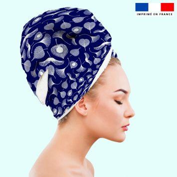 Coupon éponge pour serviette turban cheveux motif feuille ginkgo bleu