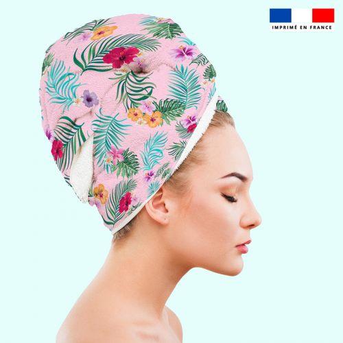 Coupon éponge pour serviette turban cheveux motif fleur tropicale rose