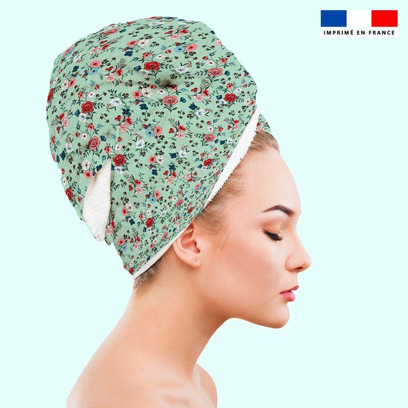 Coupon éponge pour serviette turban cheveux motif petites fleurs champêtres vert