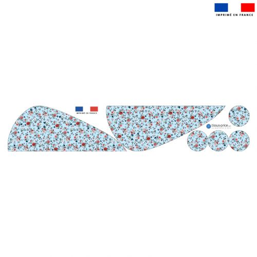 Coupon éponge pour serviette turban cheveux motif petites fleurs champêtres bleu