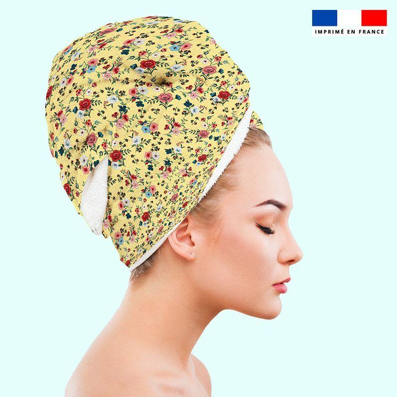 Coupon éponge pour serviette turban cheveux motif petites fleurs champêtres jaune