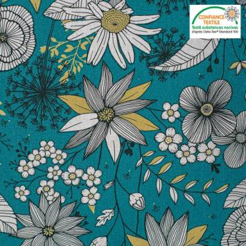 coupon - Coupon 48cm - Toile coton vert canard imprimée fleurs blanches et dorées Oeko tex