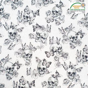 coupon - Coupon 41cm - Coton blanc motif tête de mort rose et papillon Oeko-tex