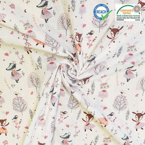 coupon - Coupon 25cm - Coton blanc motif biche danseuse rose ezelia Oeko-tex