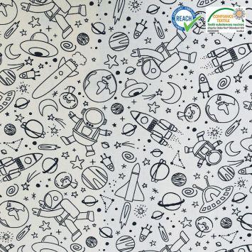 coupon - Coupon 33cm - Coton à colorier motif planète cosmicolo Oeko-tex